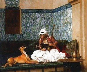 Jean-Léon Gérôme - Une Plaisanterie (A Joke) (or Arnaut blowing Smoke at the Nose of his Dog)