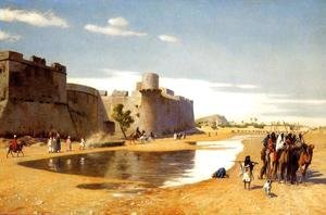Jean-Léon Gérôme - An Arab Caravan outside a Fortified Town, Egypt