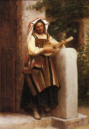 Jean-Léon Gérôme - An Italian Girl Playing a Mandolin