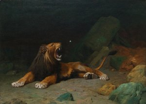 Jean-Léon Gérôme - Lion Snapping at a Butterfly