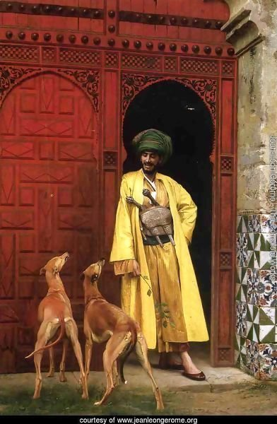 An Arab And His Dogs